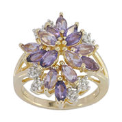 Genuine Amethyst, Pink Quartz and Lab-Created White Sapphire Ring
