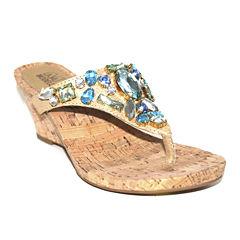 Modellista Accept Bead Thong Wedge Sandals