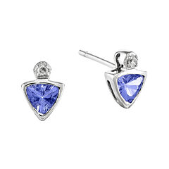 Genuine Tanzanite and Diamond-Accent 14K White Gold Earrings