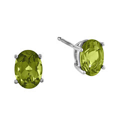 Genuine Peridot Earrings 14K White Gold