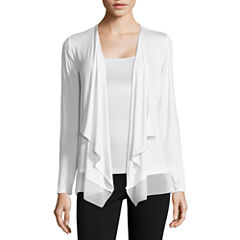 a.n.a® Long-Sleeve Chiffon-Trim Cardigan