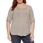 Liz Claiborne 3/4 Sleeve V Neck Stripe T-Shirt-Plus