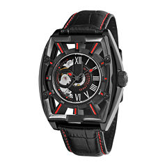 Stührling® Original Mens Leather Strap Red Accent Automatic Skeleton Watch