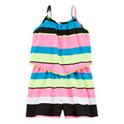 Total Girl® Sleeveless Striped Romper - Girls 7-16 and Plus