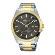 Pulsar® Business Collection Mens Two-Tone Stainless Steel Gray Dial Watch