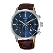 Pulsar® Mens Brown Leather Strap Blue Dial Chronograph Watch