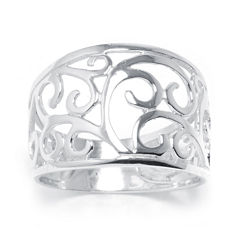 Silver Treasures™ Sterling Silver Scroll Vine Ring
