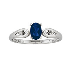 Genuine Blue Sapphire and Diamond-Accent 14K White Gold Ring