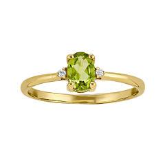 Genuine Peridot Diamond-Accent 14K Yellow Gold Ring