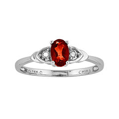Genuine Red Garnet Diamond-Accent 14K White Gold Ring