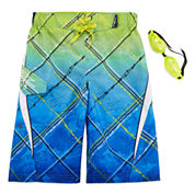Zero Xposur® Graphic Swim Trunks with Goggles - Boys 8-20
