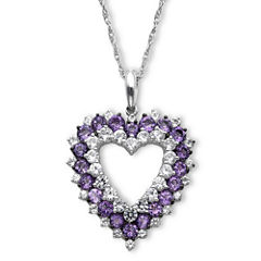 Genuine Amethyst & Lab-Created White Sapphire Sterling Silver Heart Pendant Necklace