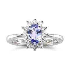 Genuine Tanzanite & Lab-Created White Sapphire Ring