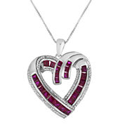 Lab-Created Ruby and Diamond-Accent Heart Pendant Necklace