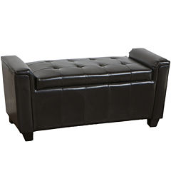 Rocco Tufted Bonded Leather Storage Bench