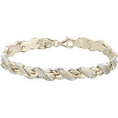 10K Two-Tone Gold Diamond-Cut  Stampato Link Bracelet