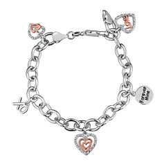ForeverMine® 1/10 CT. T.W. Diamond 14K Rose Gold Accent Charm Bracelet