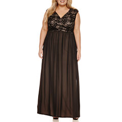 Melrose Sleeveless Sequin and Lace Evening Gown-Plus