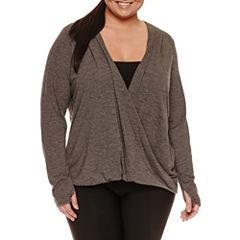 Xersion Long Sleeve Draped Neck T-Shirt-Plus