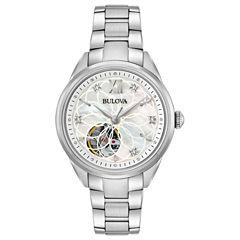 Bulova Womens Silver Tone Bracelet Watch-96p181