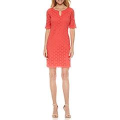 Ronni Nicole Elbow Sleeve Lace Sheath Dress