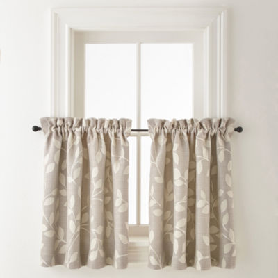 JCPenney Home Quinn Leaf Rod Pocket Window Tiers