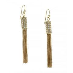 nicole by Nicole Miller® Gold-Tone Crystal Pavé Tassel Drop Earrings