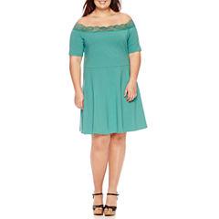 Decree Off Shoulder Lace Trim Dress - Juniors Plus
