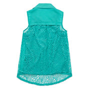 Total Girls Woven Lace Back Top Big Kid