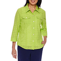 Alfred Dunner Cable Beach 3/4 Sleeve Layered Top