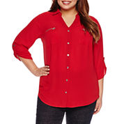 Alyx® 3/4-Sleeve Zip-Pocket Crepe Tunic - Plus