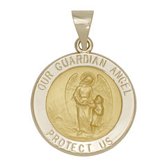 14K Yellow Gold Guardian Angel Medallion Pendant
