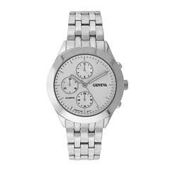 Geneva Womens Multifunction-Look Silver-Tone Bracelet Watch