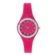 Womens Pink Rubber Strap Watch