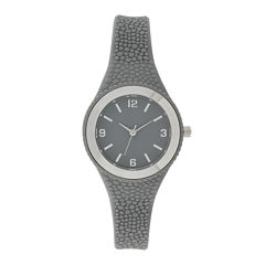 Womens Gray Rubber Strap Watch