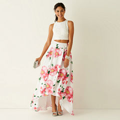 My Michelle® Sleeveless Lace Top and Floral Print High-Low Skirt Two Piece