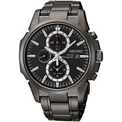 Seiko® Mens Black Chronograph Solar Watch SSC095