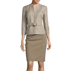 Isabella Long-Sleeve Polka Dot Jacket and Skirt Suit Set