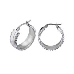 Crystal Stainless Steel 24mm Hoop Earrings