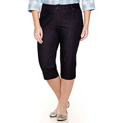 St. John's Bay® Secretly Slender Twill Cropped Pants - Plus
