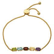 Sparkle Allure Womens Multi Color Diamond Accent Gold Over Brass Bolo Bracelet