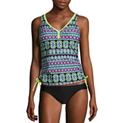 Arizona Geo Linear Tankini Swimsuit Top-Juniors