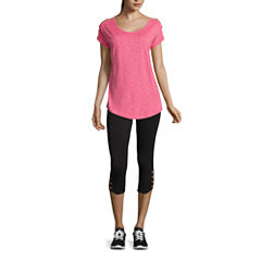 Xersion™ Studio Lattice Shoulder Short Sleeve Tee or Studio Cotton Blend Capris