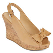 CL by Laundry Imagined Burnished Peep-Toe Wedges