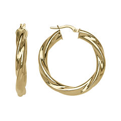 Made in Italy 14K Yellow Gold  25mm Twist Hoop Earrings