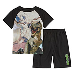 4D 2-pc. Short Sleeve Dino Kids Pajama Set-Boys