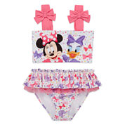 Disney Girls Minnie Mouse Solid Tankini Set - Toddler
