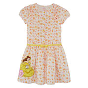 Disney Short Sleeve Beauty and the Beast A-Line Dress - Toddler