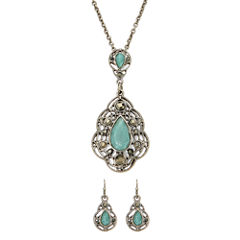 Liz Claiborne® Blue Silver-Tone Pendant Necklace and Earring Set