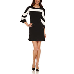 Danny & Nicole 3/4 Bell Sleeve Shift Dress